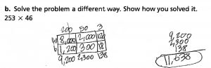 Kyra solves 253 x 46 a different way.